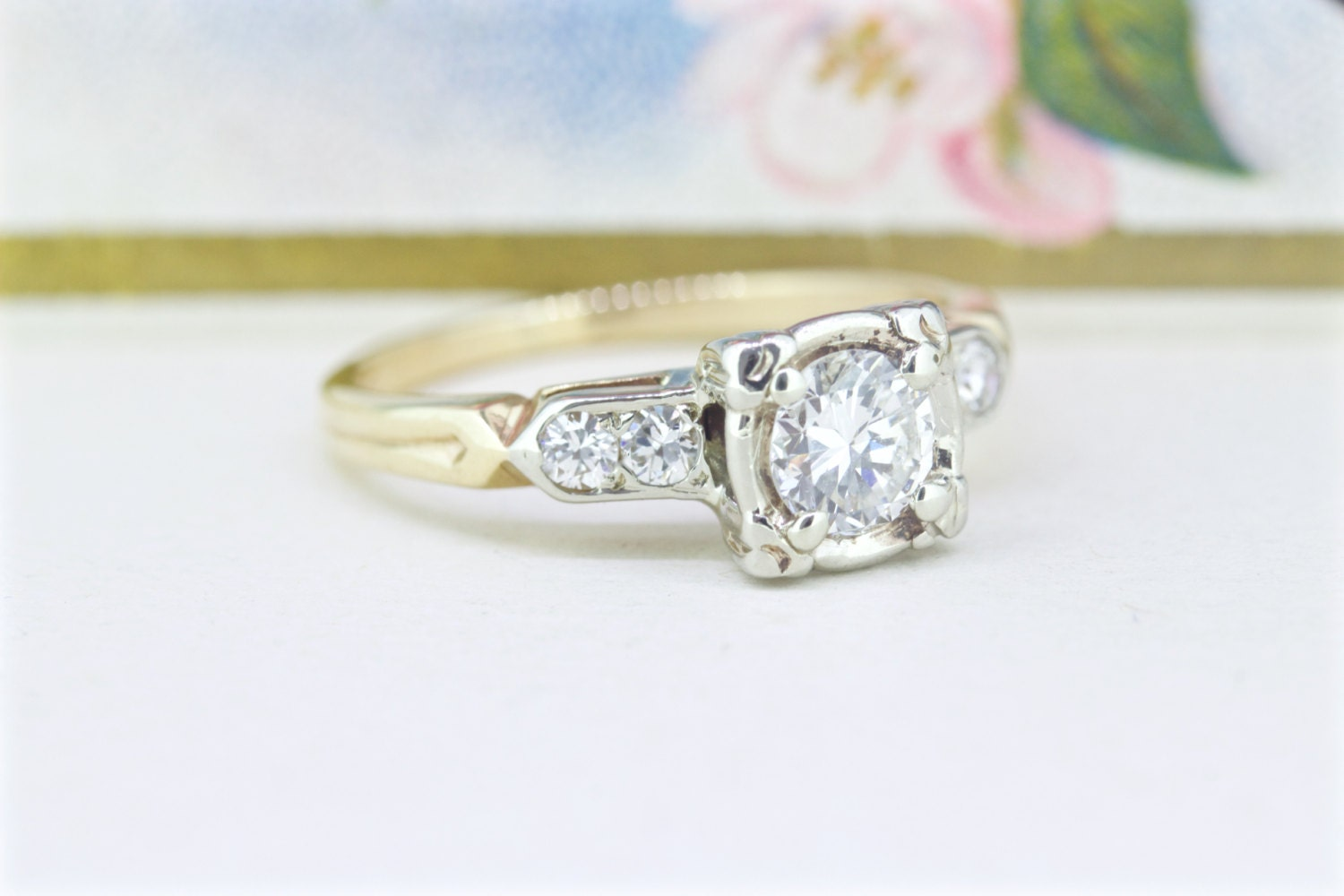 1940s engagement ring vintage 14k yellow by