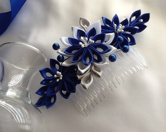 Hair Comb - Cobalt Blue Royal Blue White Grey Kanzashi Flowers with Pearls - Wedding Flowers Bridal Headpieces Hair Accessories