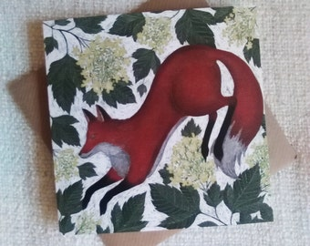 Fox & Guelder Rose Greetings Card
