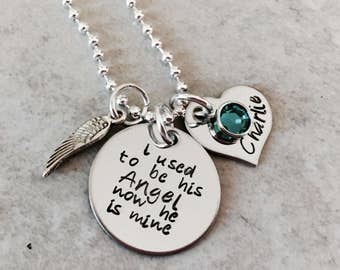 I used to be his angel now he is mine personalized necklace with name charm and birthstone remembrance necklace personalized gift angel wing