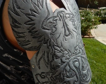 Grey Warden Cosplay Shoulder Piece Crest, eagle, dragon age, costume, leather, arm band, medieval, custom, silver, metal, gaming, comicon