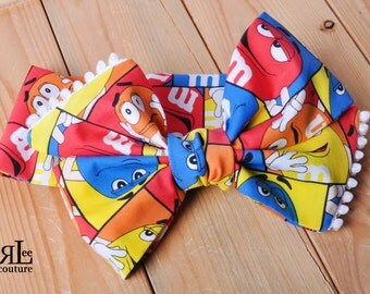 M and M Headwrap - Bow Headwrap - M and M Head Wrap - Baby Headwrap - M and M Hair Bow