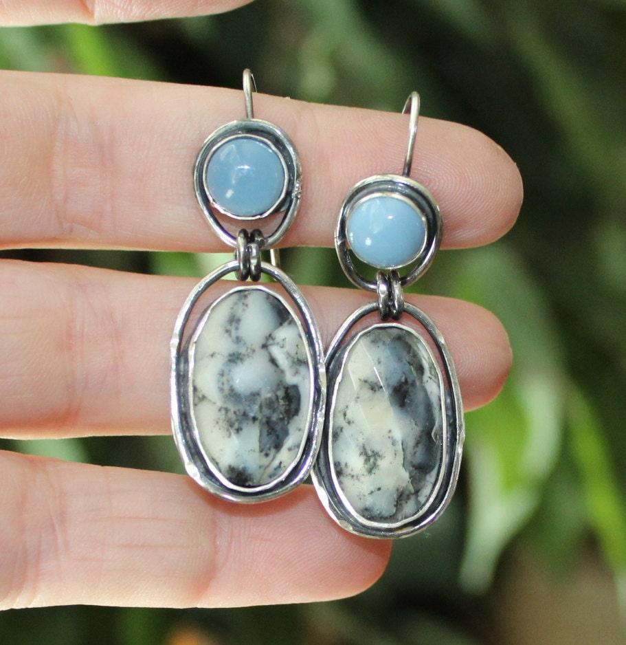 opal earrings dendritic opal earrings blue opal earrings. Black Bedroom Furniture Sets. Home Design Ideas