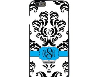 Hard Snap-On Case for Apple 5 5S SE 6 6S 7 Plus - CUSTOM Monogram - Any Colors - Black White Blue Damask Ribbon