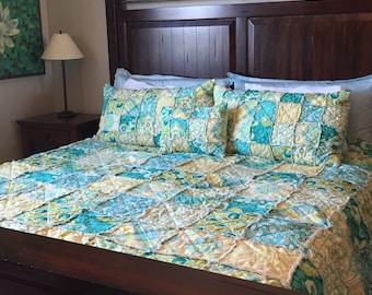 King Size Quilt - Rag Quilt - Green King Quilt - Aqua King Quilt - King Size Bedding - Custom Bed Quilt - King Comforter - King Size Blanket