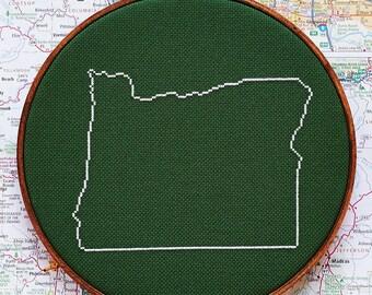 State of Oregon map, CROSS STITCH PATTERN