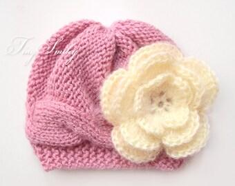 Mauve Pink Baby Hat, Newborn Girl Hat, Knit Newborn Hats, Cable Baby Hat, Pink Baby Cable Hat, Baby Girl Outfits, Winter Baby Hats, Newborn