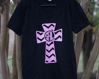 Cross Shirt - Personalized Chevron Cross Shirt - Chevron Shirt - Personalized Cross - Ladies Personalized Shirt - Monogrammed Shirt