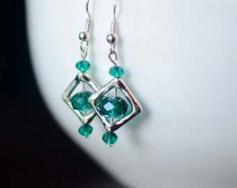 Teal Earrings, Silver Dangle Earrings, Swarovski Earrings, Bridesmaid Gift, Geometric Earrings, Gift for Her, Little Earrings