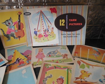 Vintage Jaymar Yarn Pictures...12 Hole Punched Cards