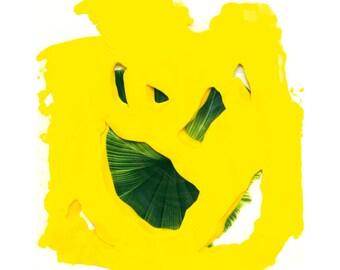 "Fine art print, acrylic painting, mixed media art ""Green leaf""by Ah-young Jeon,fine art paint, modern art print, colorful wall art/279659130"