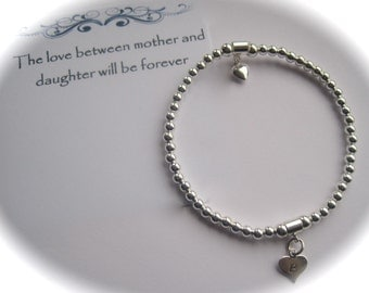 Serenity Daughter - Sterling Silver beads, Sterling Silver puffed heart and stamped heart Bracelet