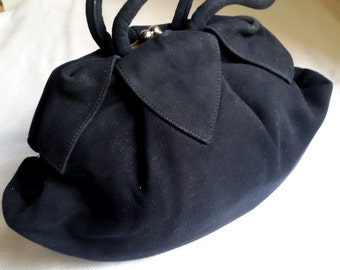 Vintage dark blue ruffled fabric purse, navy blue rayon handbag, midcentury fashion evening wear, blue dress accessory, cloth bag