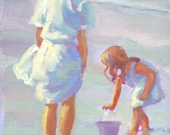 Mama and Me.   6 x 8 original acrylic painting on canvas board, beach scene, mother and daughter on the beach Lucelle Raad Art