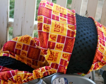 USC and black minky infant car seat cover and hood cover