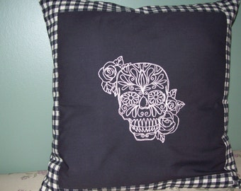 Skull, Embroidered Pillow Cover