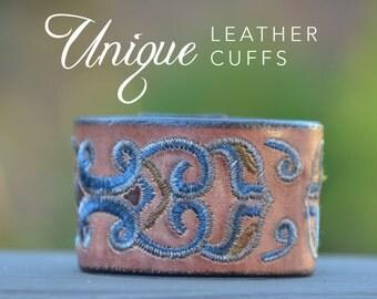 Brown embroidered leather cuff bracelet - unique leather cuff - rustic - boho - Love Squared Designs