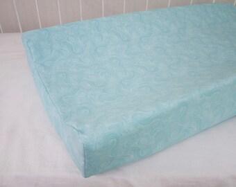 SALE! 30% OFF! Aqua Blue Turquoise Swirls Changing Pad / Mat Cover