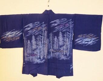 HAORI SILK PURPLE Vintage Japanese Haori Kimono Jacket Sparkly Urushi Trees Mon Purple Silk Haori Kimono Jacket Sparkly Japanese Silk Haori
