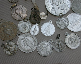 30pcs Large French antique religious medal bronze silver holly metal Blue enamel Vergin mary religious Jesus Sacred heart of mary