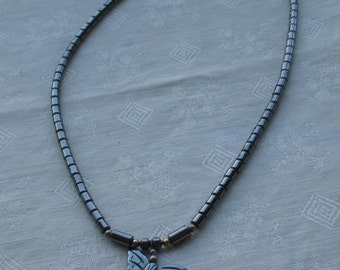 Retro Hematite Beaded Butterfly Necklace