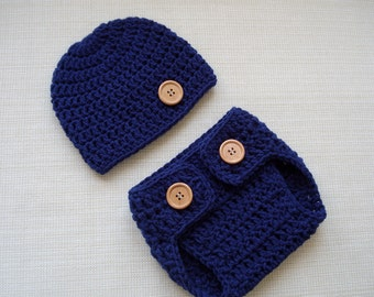 Newborn boy photo outfit Baby boy photo prop Crochet newborn hat and diaper cover set Newborn crochet outfit Newborn diaper cover and beanie