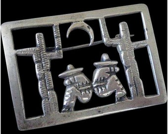 "Remarkably Early MEXICO Art Deco 1920's 1930's Pre-Eagle Hand-forged .900 Silver ""Dos Amigos"" Openwork Iconic Folk Art FOLKLORIC BROOCH"