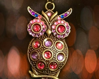 """Discontinued!coupon offer! Steampunk Hooters """"Owlbert"""" the owl necklace (Rhinestone version)"""