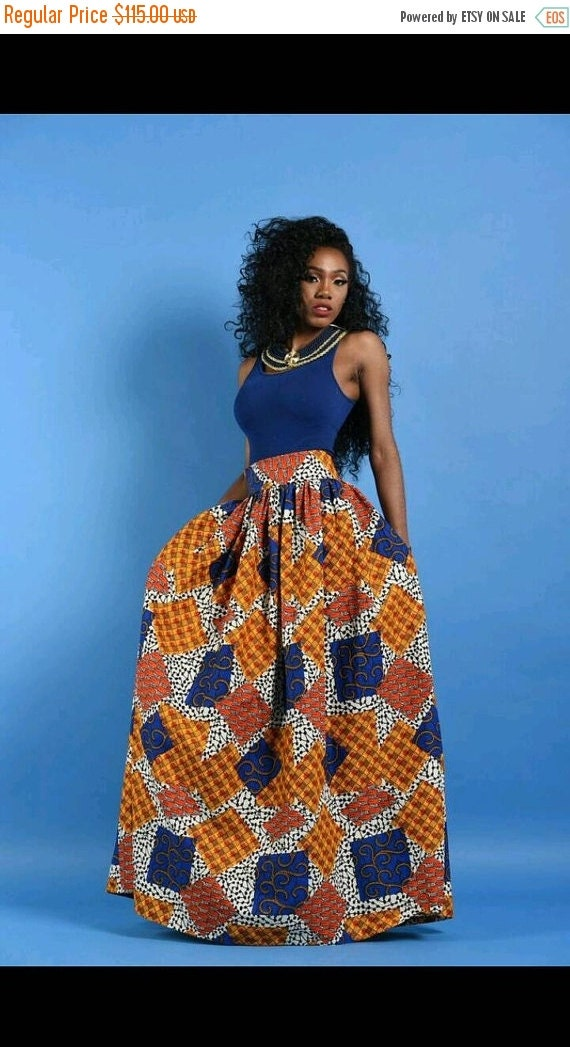 Clearance NEW Patchwork  African Print Maxi skirt