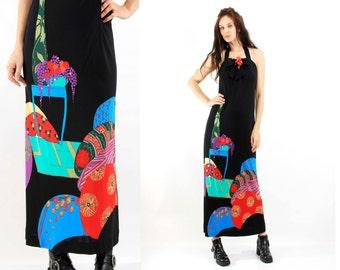 Avant Garde Dress / Easter Dress / Ugly Dress / Print dress / Long Dress / Maxi Dress Size M