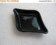 Summer Sale 20% Off Vintage Tiara Exclusives Petite Black Diamond Sandwich Glass Tray