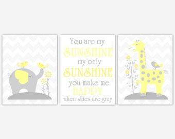 Baby Nursery Wall Art Yellow Gray Elephant Giraffe You Are My Sunshine Safari Jungle Animals Baby Girl Baby Boy Nursery Decor Chevron Prints