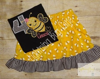 bee birthday outfit little girl bumblebee skirt set girls bee shirt with matching skirt back to school outfit pink black yellow bee clothing