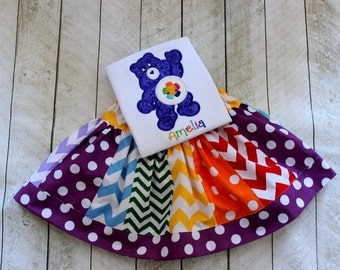 Care Bear birthday outfit Girls Harmony purple care bear birthday outfit skirt set rainbow skirt chevron and polka dot skirt