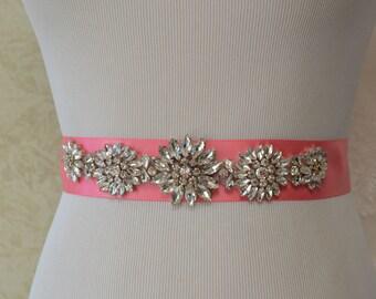 Wedding Belt-Bridal Belt-Sash Belt-Crystal Rhinestone Belt-Coral Pink  Bridesmaid Sash