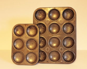 Vintage English Tala Madeleine Muffin Pan Baking Trays Sheets Cookie Molds Old Bakeware Cookware