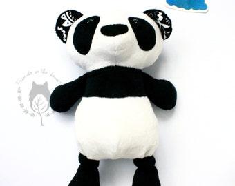 Panda bear toy, panda bear, panda soft toy, monochrome nursery items, woodland animal, kids soft toy, baby shower gifts, toys for toddlers