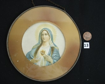 Religious antique French catholic peinture of Holy Mary Our Lady of Sorrows behind glass. ( 13 )