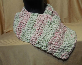 Light Pink and Green Shimmer Scarf
