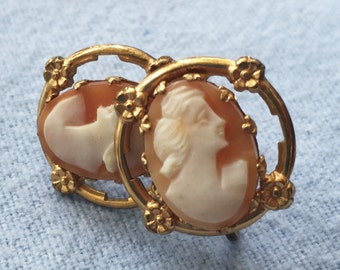 Vintage Cameo Earrings - Screw Back - Marked STERLING