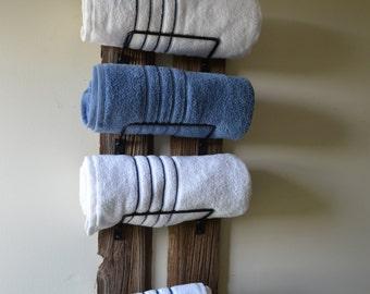 Barn Wood Towel Rack made from reclaimed barn wood