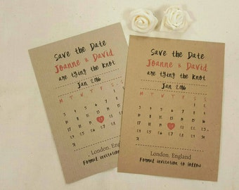 DIGITAL ARTWORK Personalised Save The Dates Wedding A6 Postcard Invites