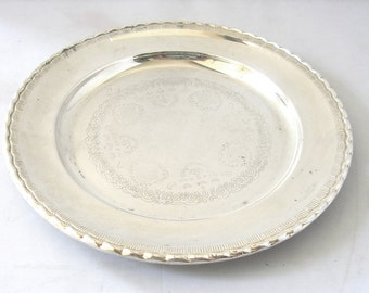 Vintage Silver plate scroll work tray dish salver from Sweden serving tray bonbon dish 1950s 50s mid century