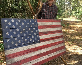 Salvaged Barn Wood American Flags by Folkartflags on Etsy