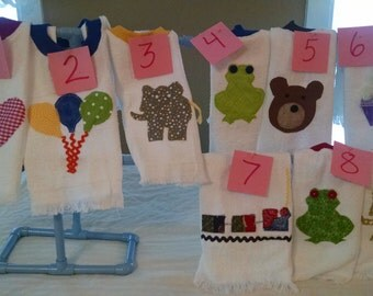 pick 3 towel bibs, 1st birthday, personalized gift, baby shower, embroidered bib