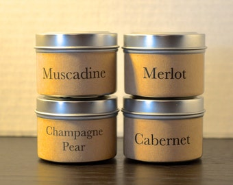 2oz Wine scented soy candle tin samples, you pick 4 the scents