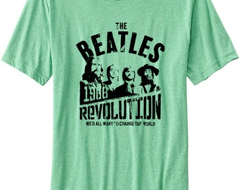 """1968 Vintage Beatles """"The Revolution"""" Unisex Extremely Soft Cotton Summer T-Shirt - XL-L-M-S Available"""