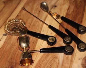 Vintage 24kt gold-plated set of bartending tools