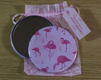 76mm Flamingo Pattern Pocket Mirror
