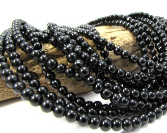 Black Agate Beads, 4mm Round Black Beads, 15 inch Strand, Black Gemstone Beads, 4mm Black Beads, Jewelry Making Supplies, Item 1138ag